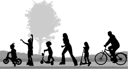 cyclist silhouette: Family silhouettes Illustration