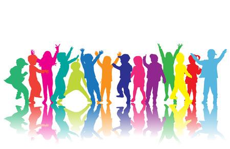 bailarines silueta: siluetas de los niños  Vectores