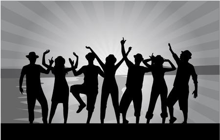 jeunes joyeux: groupe de jeunes heureux qui dansent sur la plage