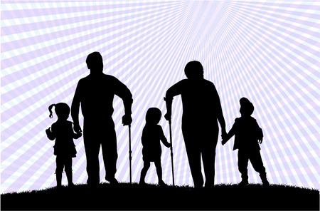 sick person: Family silhouettes Illustration