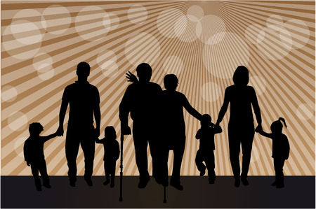 Family silhouettes 矢量图像