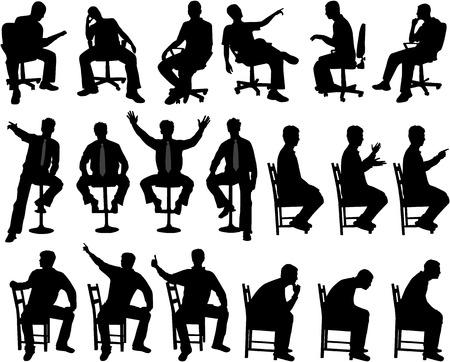 gente sentada: Hombre en posición sentada  Vectores