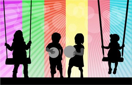 children silhouettes  Иллюстрация