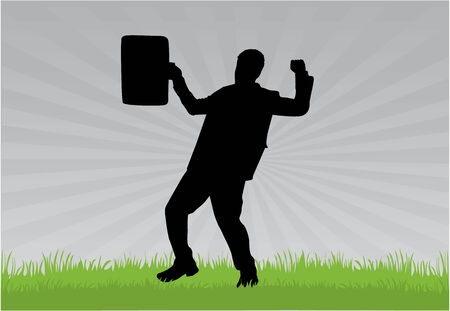 grass silhouette: Businessman Illustration