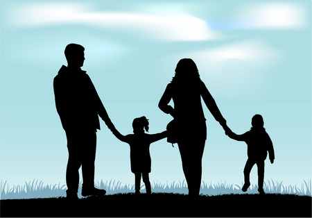 family with two children: Family silhouettes Illustration