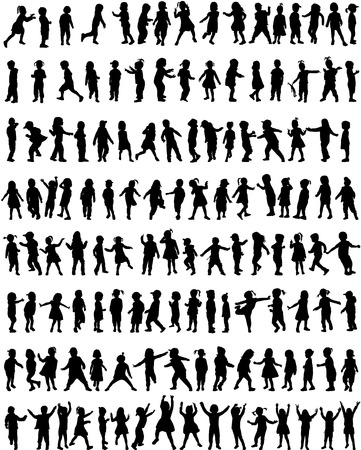 person walking: children silhouettes Illustration