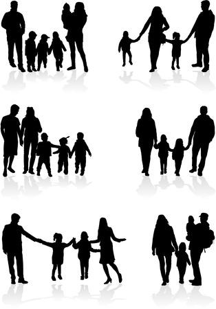 woman shadow: Family silhouettes  Illustration