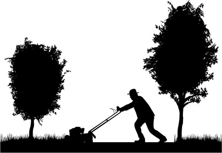 push mower: Man Mowing Lawn  Illustration