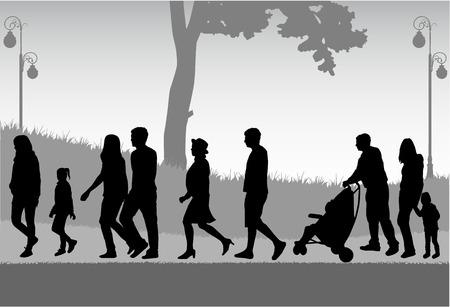 shadow people: Crowd of people walking