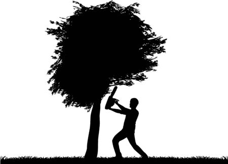 woodsman: Vector silhouette of a man working