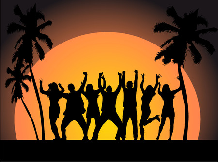 exotic dancer: Sunset Beach, vector work