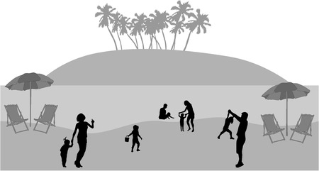 swimming silhouette: Family on vacations