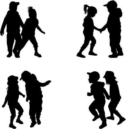 niños caminando: siluetas de los niños  Vectores