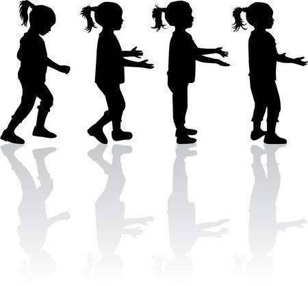 niños caminando: Niños siluetas