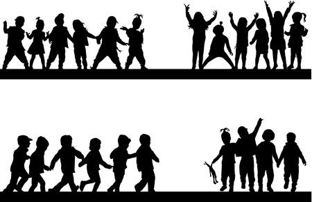 children silhouettes Ilustração