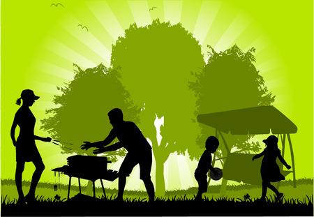 Family picnic in the garden Vector