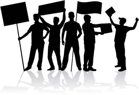 protesting: manifestation - a group of people protesting