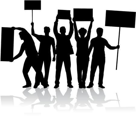 a group of people protesting: manifestation - a group of people protesting Illustration
