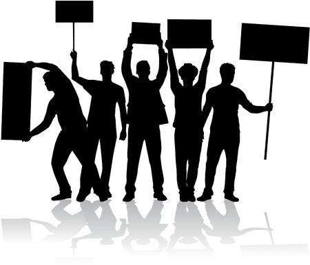 Manifestazione - un gruppo di persone che protestano Archivio Fotografico - 32093452