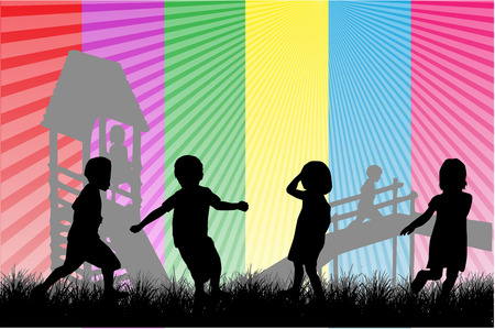 Happy Children Playing, vector work