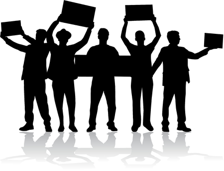 manifestation - a group of people protesting Illustration