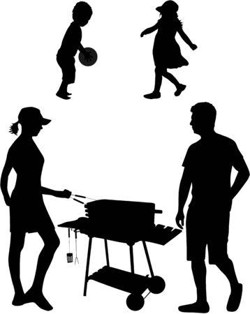 hot couple: Family picnic in the garden  Illustration