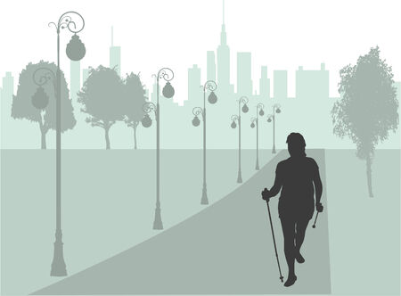 alleys: Vector silhouette of women with Nordic walking. Illustration