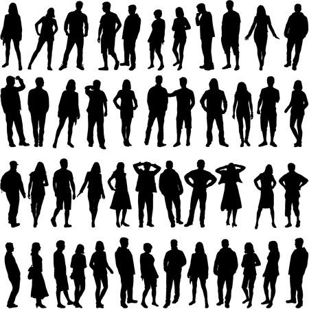 silueta hombre: Grupo de personas Vectores
