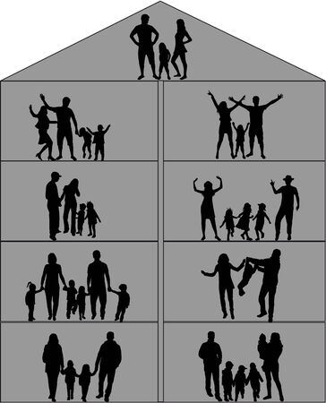 abstract family: Family silhouettes Illustration