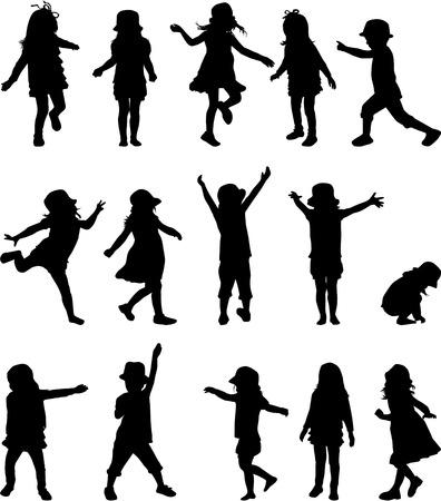 Silhouettes d'enfants Banque d'images - 32238532