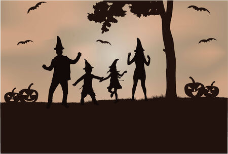 woman shadow: Halloween - silhouette of a family
