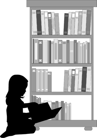 literary man: Silhouette of a girl reading a book.