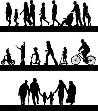 cyclist silhouette: Group of people. Illustration