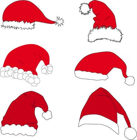 Red santa claus hat  Illustration