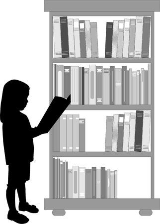Silhouette of a girl reading a book. Vector