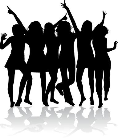 teenage girl: Dancing Silhouette  - Illustration