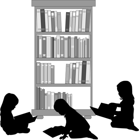 Silhouettes of a girl reading a book. Illustration