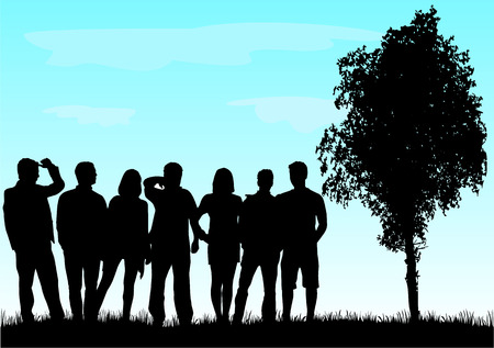 woman shadow: Group of people Illustration