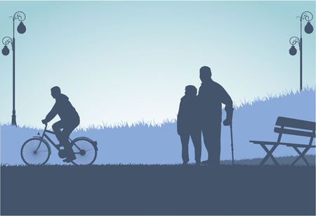 cyclist silhouette: People silhouettes  Illustration