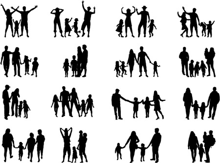 Family silhouettes Stock Illustratie