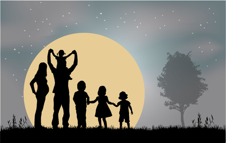 couple together: Family silhouettes Illustration