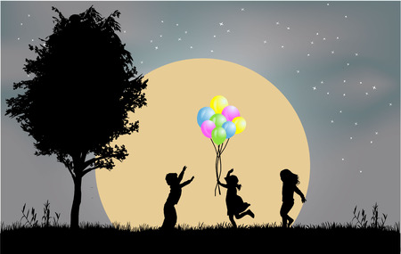 children silhouettes Illustration
