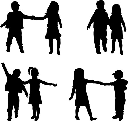 child care: children silhouettes Illustration