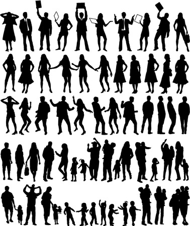 family and friends: Group of people - large collection Illustration