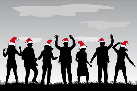 new year's cap: Christmas Party Illustration