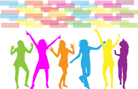 teen silhouette: Dancing silhouettes - grunge background