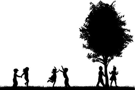 Gruppe von Kindern Silhouetten Standard-Bild - 34156554