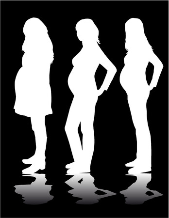 Silhouette of the pregnant woman Ilustracja