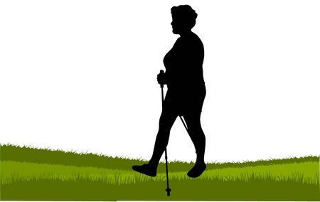 Vector silhouette of women with Nordic walking.  イラスト・ベクター素材