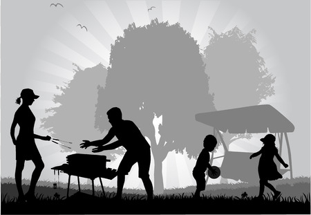 picnic park: Family picnic in the garden  Illustration